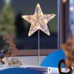Коледна звезда, led (бяла) с батерия; 43 см