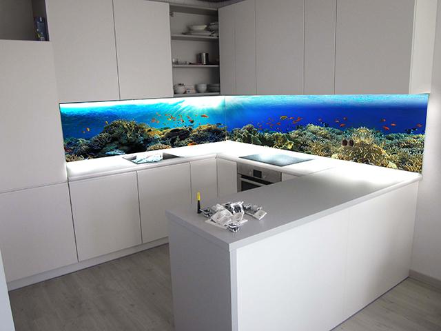Принт гръб на кухня -Морско дъно