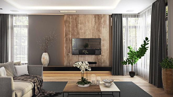 Декорация с паркет и дърво на стената с телевизора