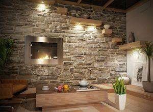 38 идеи за декоративни акценти с камък в дневната