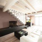 черните корпусни мебели контрастират на общия цветови фон