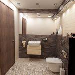 На пода в помещението са поставени плочки с речни камъчета - модел Pebbles white
