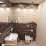 Контурите на окачения таван с вградено осветление са облицовани с керамични плочки с ефект на дърво и наподобяват декоративни греди