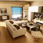 Кът с модулни окачени шкафове и място за телевизор