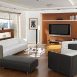 Проект на дневна - стената зад телевизора е решена в контрастиращ цвят за акцент