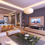 Проект на дневна с окачен таван на 2 нива и TV-кът