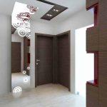 Антрето е с основни акценти: окачен таван с геометрична форма и огледало с флорални мотиви