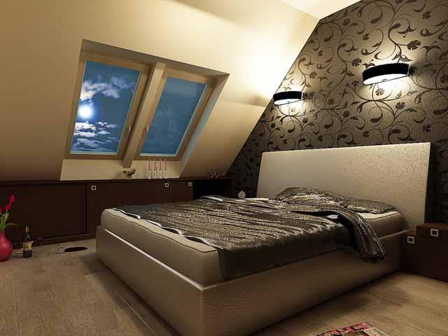 Интериорен дизайн на спалня и баня