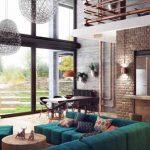Смарагдово зеленият диван внася ярък цветен акцент в пастелната картина