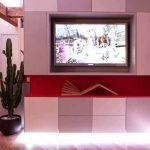 TV-кътът е фронтално разположен срещу меката мебел