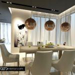 Основен акцент в трапезарията са висящите лампи над масата