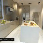 Декоративна ниша в кухнята е скрита с високи шкафове