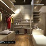 Основен акцент в гардеробното помещение е тъмният таван