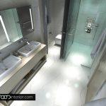 Стъклени прегради разделят функционалните кътове в банята