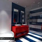 Двойна мивка и вана в детската баня, която ще се използва и като баня за гости