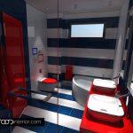 Банята е с ярки декоративни акценти в червено