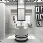 Кръглият модул с мивката е основният акцент в помещението