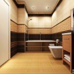 Тоалетната и банята са решени в еднакви цветови нюанси