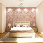 """Декоративни панели в """"пепел от рози"""" са поставени на стената зад леглото"""