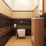 Бежово и земно кафяво в цветовата концепция на тоалетната и банята
