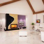 Ефектно разположените дървени греди на тавана създават интересен акцент в дневната