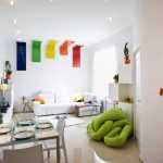 Дневната зона с кът за отдих, за хранене и кухня