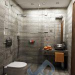 Интериорен проект на баня - стенна и подова декорация с плочи от колекцията Larix