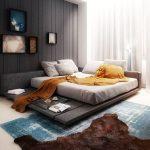 Светлосин килим и волска кожа на пода