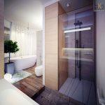 """Кътът за душ е отделен със стъклена преграда и е обзаведен с душ-глава, тип """"пита"""""""