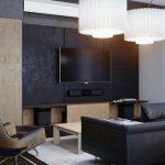С препратки към промишления дизайн е оцветяването на част от стените в дневната