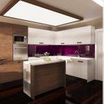 Гърбът на кухнята е решен в лилаво, за да се спази логическата взаимовръзка в цветовата концепция на жилището