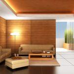 Стените са частично облицовани с дърво в тази дневна