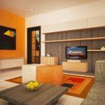 Секцията с TV е поставена на стената срещу къта за отдих