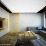 Стените са решени в сиво - мазилката имитира бетон