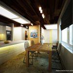 Голям бар-плот отделя кухнята от къта за хранене