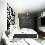 Сиво-бели нюанси определят цветовата концепция в спалнята