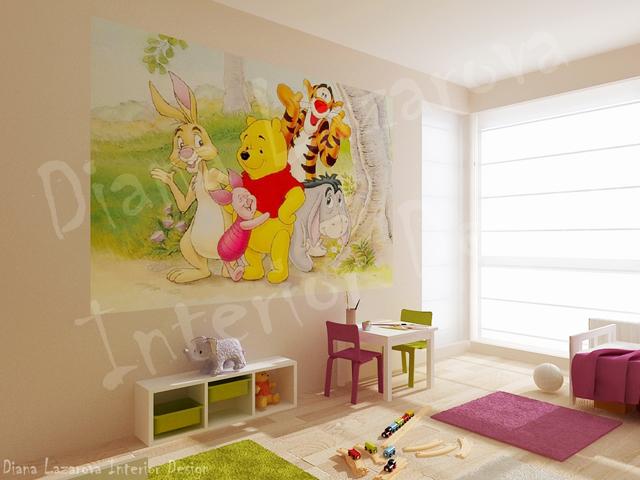 Принтовете на стената могат лесно да бъдат сменени с изображения на други детски любимци