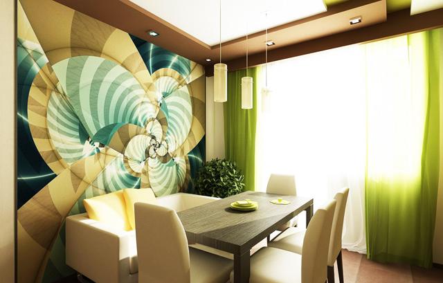 Трапезария с пано на стената и висулки над масата