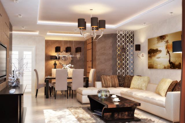 Осветителни тела в дневната и трапезарията в еднакъв стил