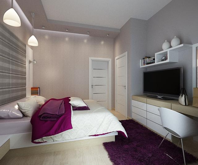 Спалнята е също в бяло и сиво