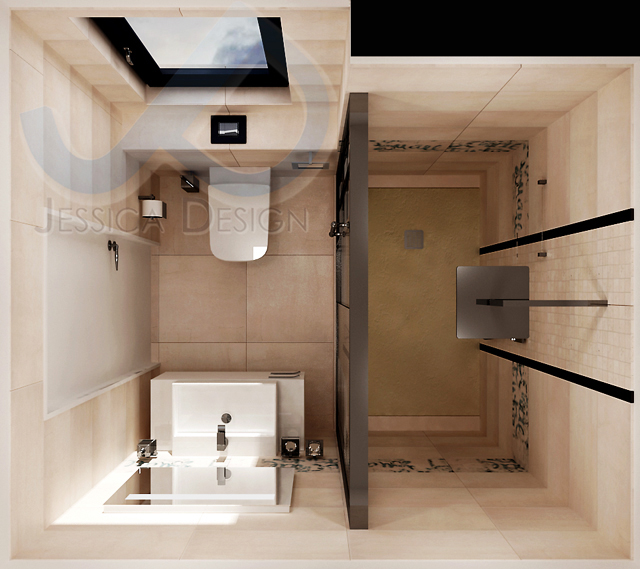 Проект на баня с приблизителна площ 3.6 кв.м