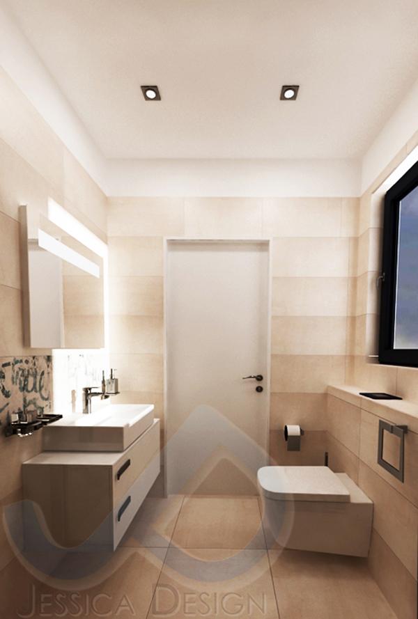 Стенната и подова керамика е от серията Portland 325 - Ariana Ceramica