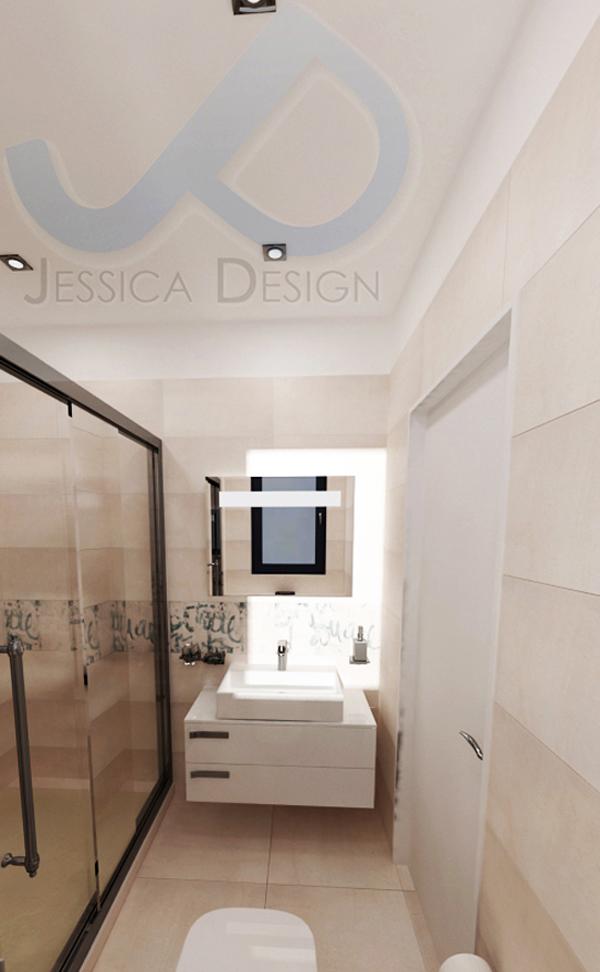 Зоната за душ е отделена със стъклени  врати