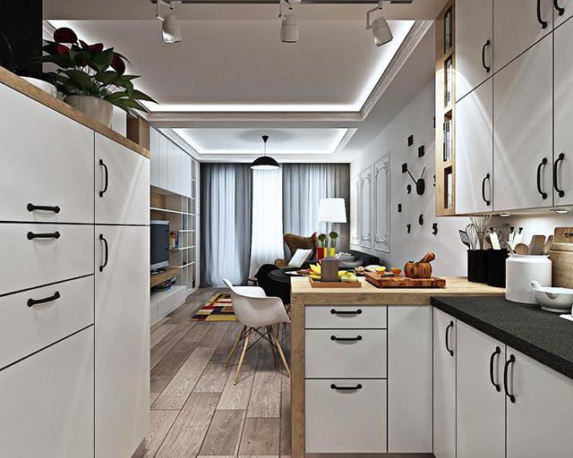 Кухнята е организирана П-образно