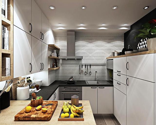 Кухнята е обзаведена с бели мебели с частични елементи от натурално дърво
