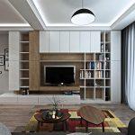 Корпусната мебел е разположена на цялата стена