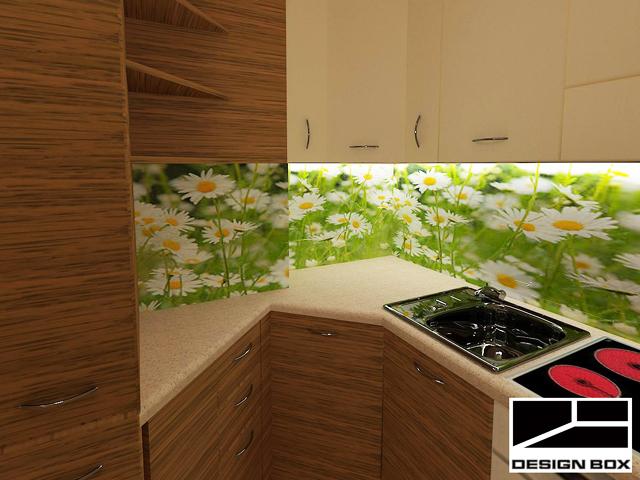 Гърбът на кухнята е декориран с принт стъкло