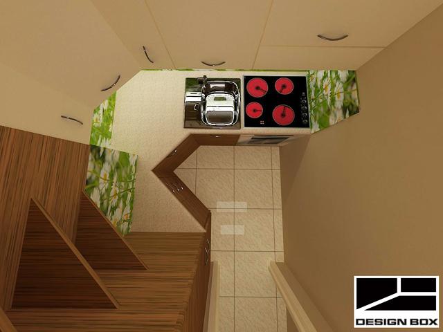 Миялната машина е позиционирана в ъгъла на 45 градуса спрямо останалите шкафове