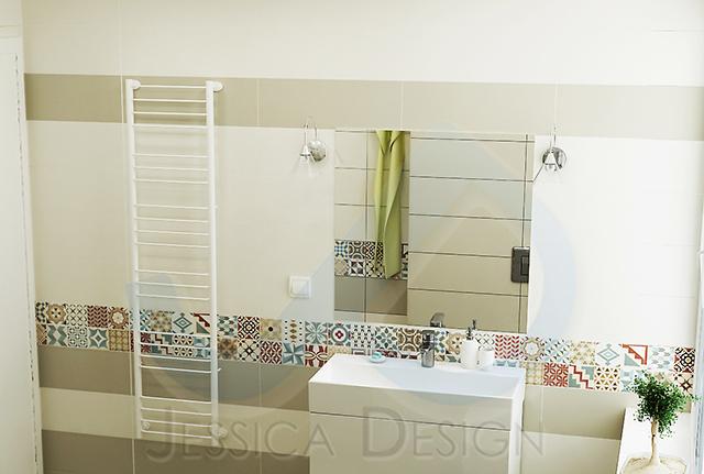 Стенните и подови плочи са от колекцията Home на испанския производител APE Ceramica a