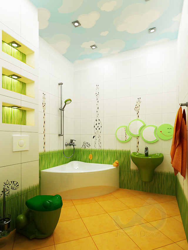 Интериорен проект на детска баня от студио Jessica Design